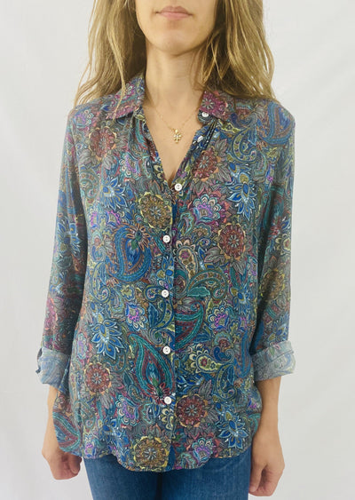 Leylie Guilda Shirt in Green Paisley
