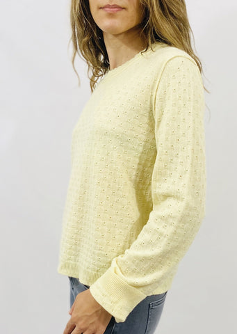 Inhabit Pointelle Crew in Lemon