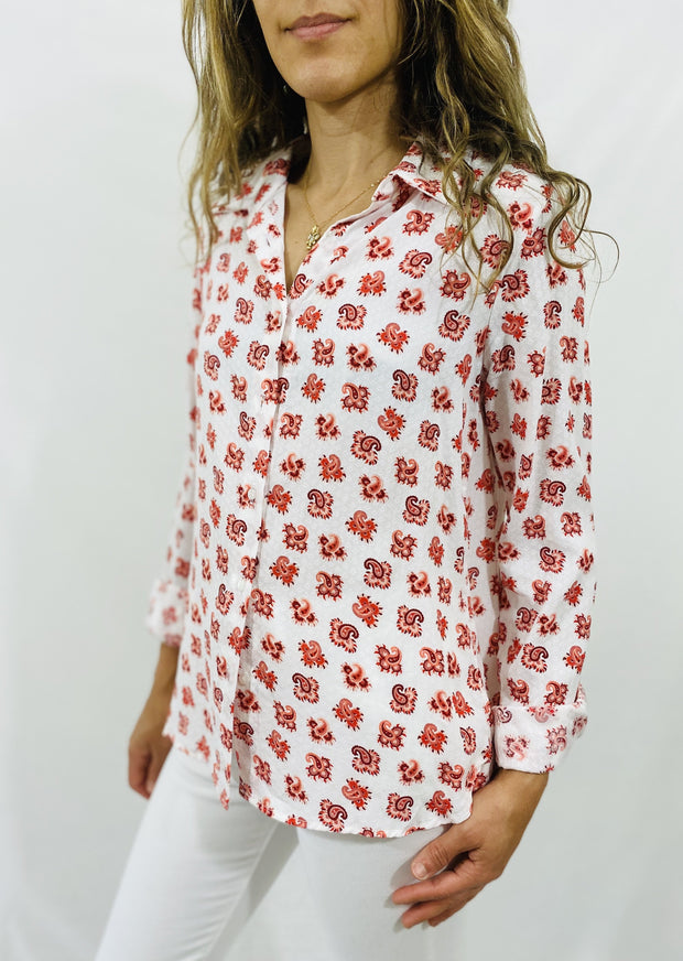 Leylie Jess Shirt in Red Paisley