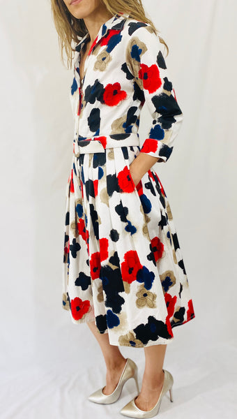 Samantha Sung Audrey #2 Dress 3/4 Slv in Watercolor Pansy