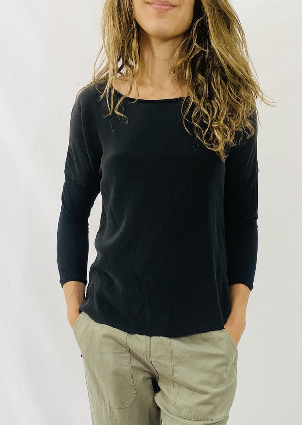 AqC Grace 3/4 Sleeve Tee in Jet