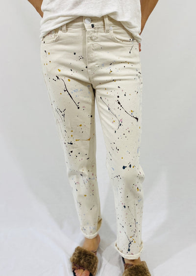 Closed Glow Jeans in Ivory Paint Splatter