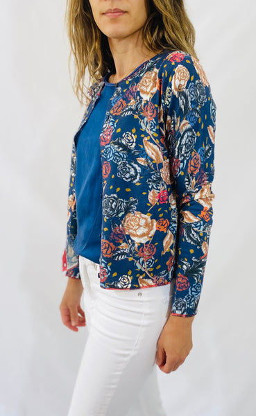 Maliparmi Floral Cardigan in Blue