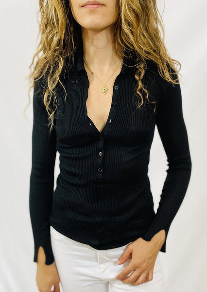 Maliparmi Henley Sweater in Black