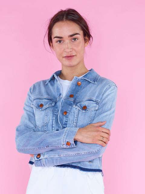 Closed Twist Denim Jacket in Light Blue
