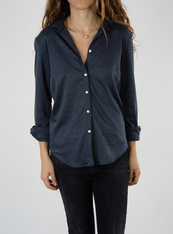 Leylie Ana Shirt in Navy Stretch