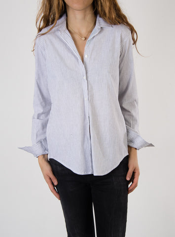 Leylie Ana Shirt in Grey Pinstripe