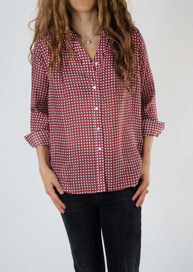 Leylie Lauren Blouse in Red Dot