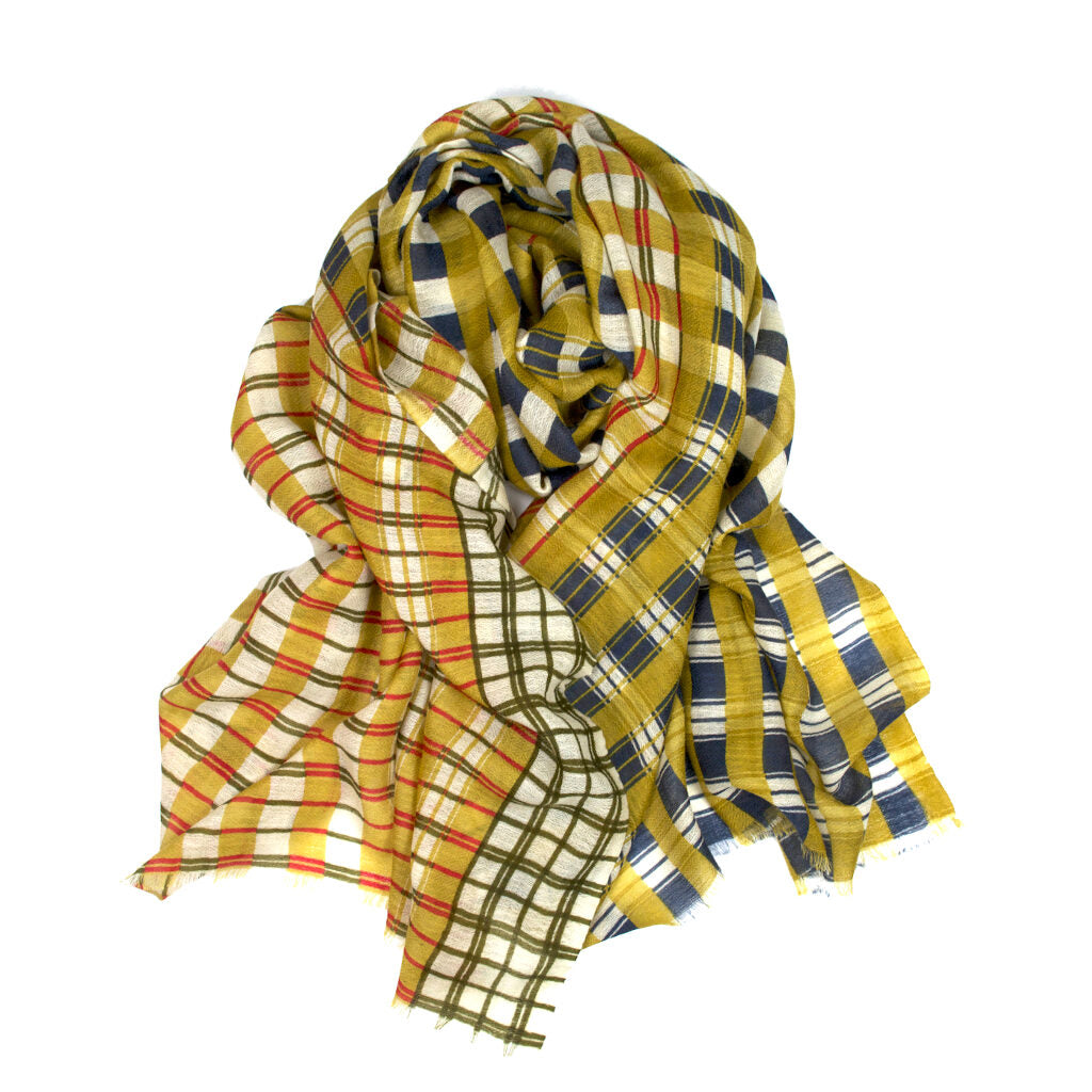 Epice Cashmere/Wool Plaid Scarf in Yellow
