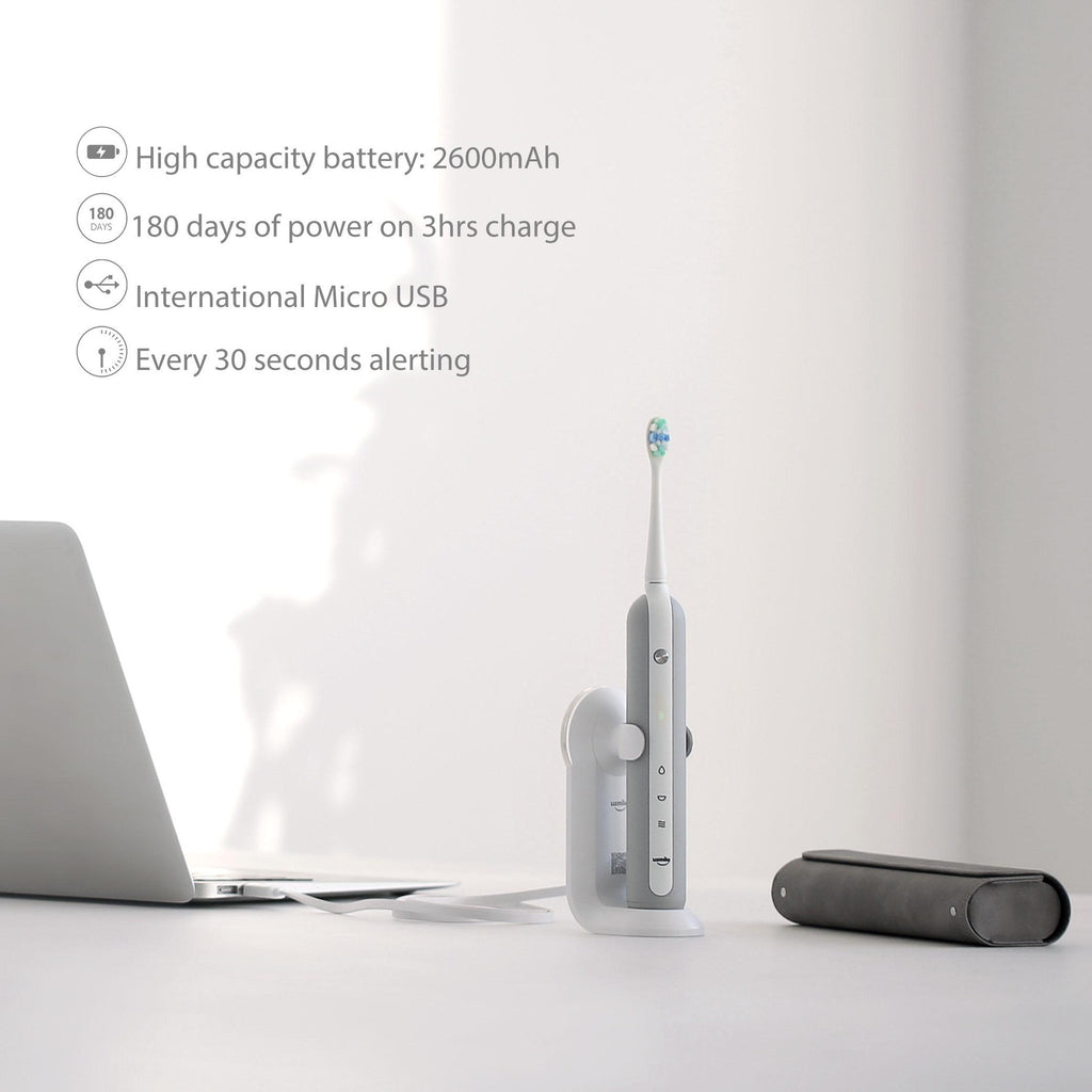 Usmile U1 Electric Sonic Toothbrush Rechargeable USB Charging 180 days of power on 3 hours charge - with 100% Round Edging Portable Bristle Oral Hygiene Travel Case (Grey)