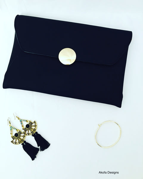 Black and gold matching clutch and accessories