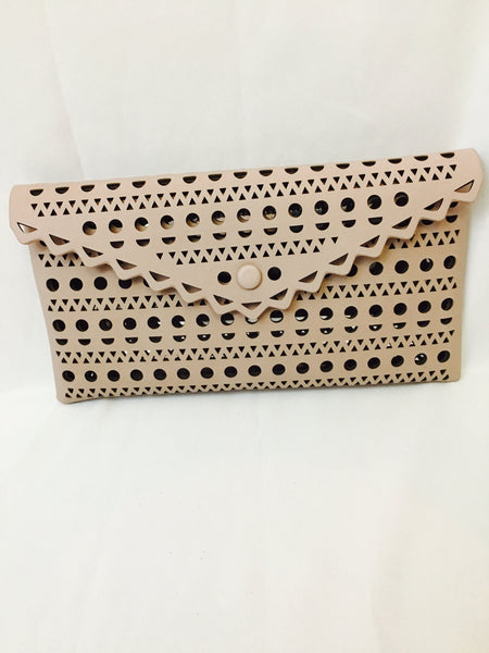 Taupe clutch bag
