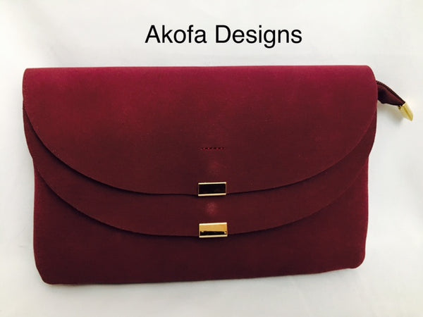 Burgundy suede bag