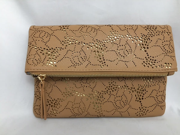 Brown Clutch with flower design