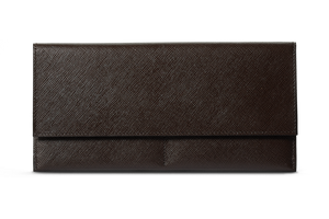 BUSINESS CLASSIC Long Wallet - Dark Brown/Yellow
