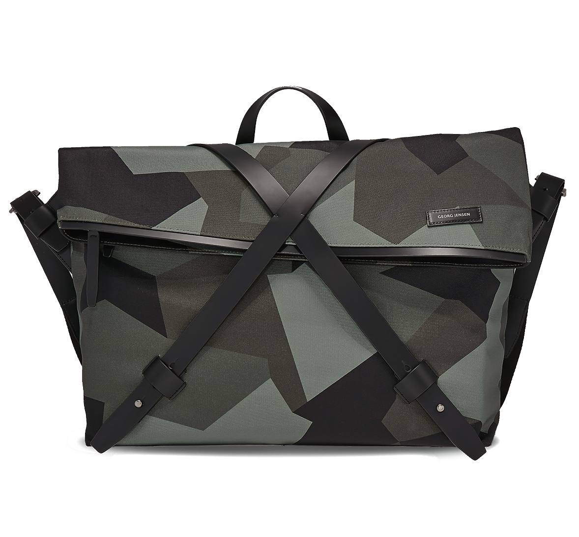 INFINITY Leather-Trimmed Nylon Messenger Bag - Camouflage