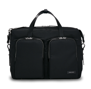 KNARR Leather-Trimmed Nylon Briefcase - Black
