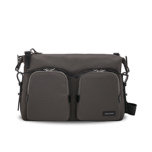 KNARR Leather-Trimmed Nylon Shoulder Bag - Grey