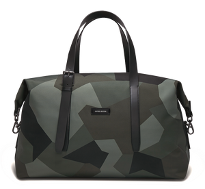 MUUTOS Leather-Trimmed Nylon Duffle Bag - M / Camouflage