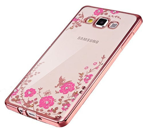 Little Flower Bling Thin Silicone Back Case Cover for Samsung Galaxy J5 2016 edition (Rose Pink)