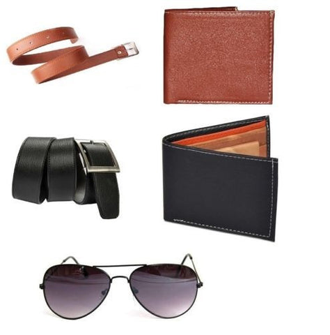 Combo of 5 products 2 Belts 2 Wallets and Sunglass