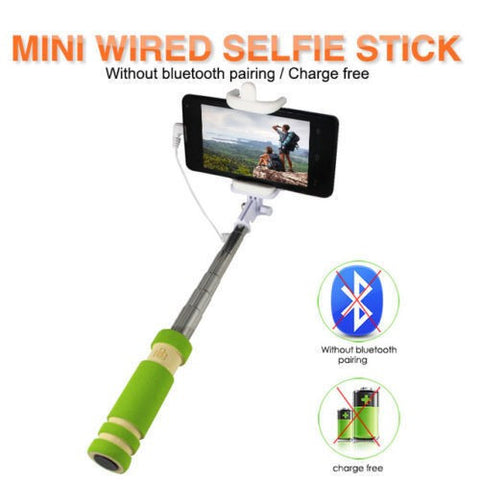 Pocket Selfie Stick Extendable With AUX Cable For iPhone & Android Mobile Phones