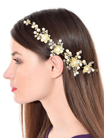Dazzle Collections Foldable Floral Funky Fashionable Stone Hair Clip With Pins