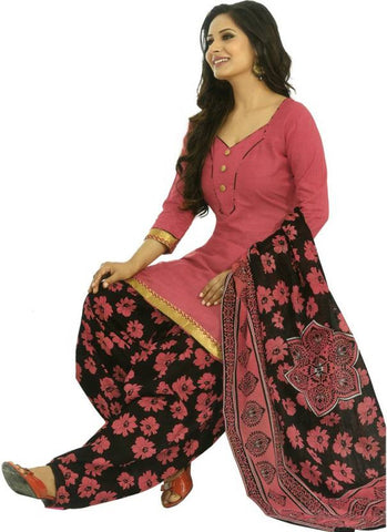 Pari Fashion Patiyala Special Cotton Printed Salwar Suit Dupatta Material Pink & Black (Un-stitched)