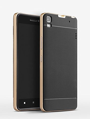KolorFish iPaky Dotted Pattern Business Series 360 Degree Protection Slim Case Cover for Lenovo K3 Note (Tempered Glass Included) Black Gold