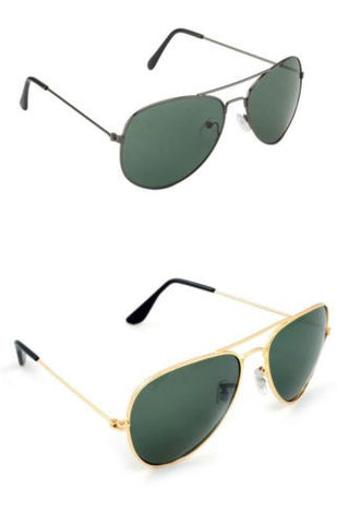 Combo of 2 Aviator Style Sunglasses Black and Green Color