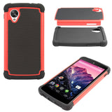DMG Hybrid Dual Layer Armor Defender Protective Case Cover for Google Nexus 5 (Red)