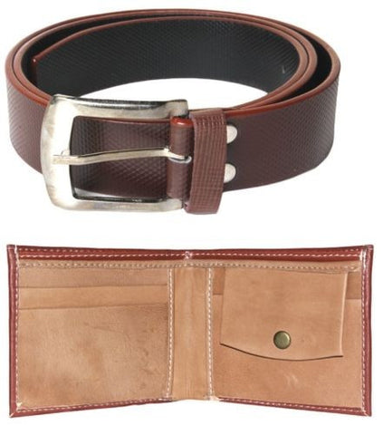 Combo of Brown Wallet and Belt Brown Color Self Textured
