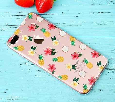 KolorFish iFunky Designer Cute Printed Thin Silicone Clear Back Case Cover for Apple iPhone 7 Plus Fruits