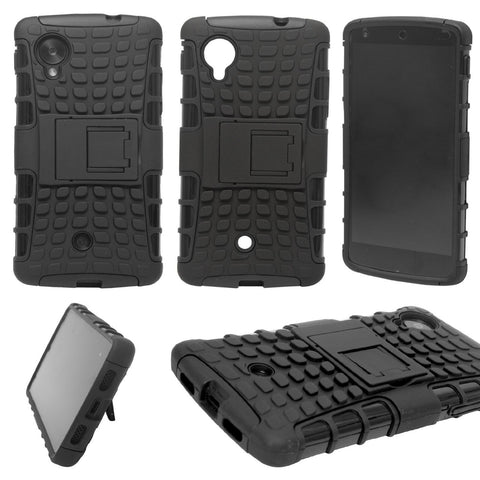 DMG Firm Grip Hybrid Rubberized Hard Back Cover Stand Case for LG Google Nexus 5 + Bonus DMG Wristband - Black