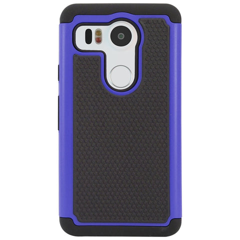 DMG Hybrid Dual Layer Armor Defender Protective Case Cover for LG Nexus 5X 2015 (Blue)