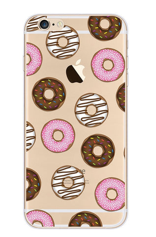 KolorFish iFunky Designer Cute Printed Thin Silicone Clear Back Case Cover for Apple iPhone 7 (Donuts)