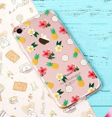 KolorFish iFunky Designer Cute Printed Thin Silicone Clear Back Case Cover for Apple iPhone 7 Fruits