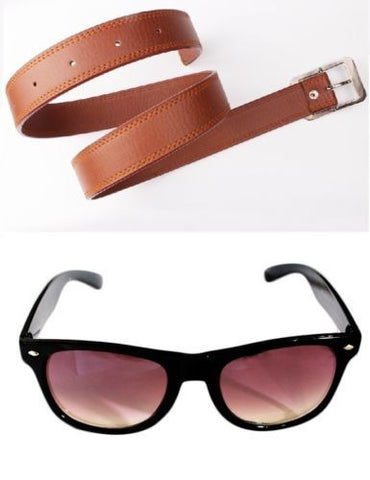 Combo of Men's Belt and Sunglass Wayfarer Style Black Color