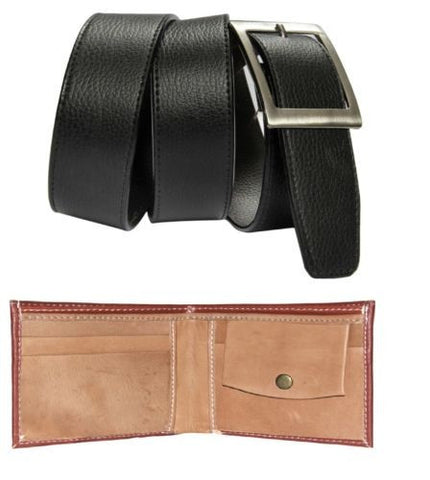 Combo of Brown wallet and Black Belt