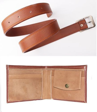 Combo of Men's Faux Leather Belt Tan Color and Brown Wallet