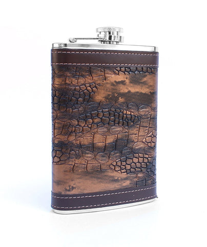 Gadget-Wagon 9 Oz (266 ml) Stainles steel with synthetic covering & attached screw lid whisky liquor hip flask (018)