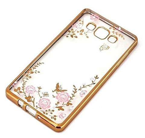 Little Flower Bling Thin Silicone Back Case Cover for Samsung Galaxy J5 2016 edition (Gold Pink)