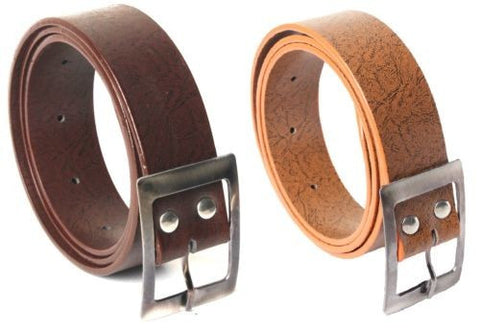 Combo of 2 Casual Belts Brown and Orange Color Self Textured