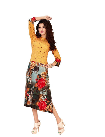 Lakkars Floral Print Casual Wear Kurti(Yellow)