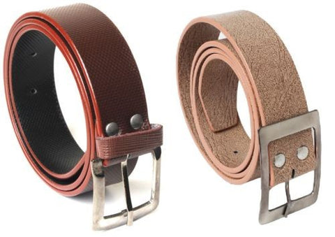 Combo of 2 Casual Belts Brown and Camel Color Self Textured