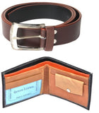Combo of Black Wallet and Belt Brown Color Self Textured