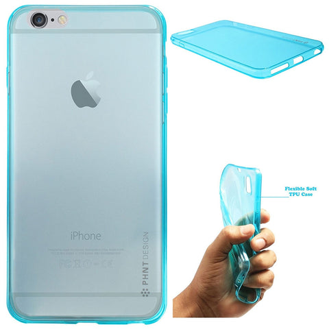 DMG PHNT Premium Scratch-Resistant Ultra Thin Clear TPU Skin Case for Apple iPhone 6 Plus (Neon Blue)