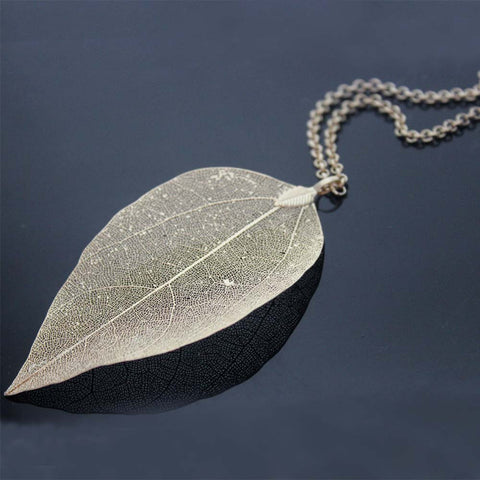 Silver/18k Gold Plated Natural Leaf Pendant Necklaces & Earrings