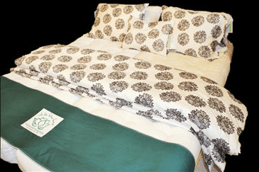 Duvet Covers in Organic Sateen printed fabric (WLH E) w/Sateen on BACK
