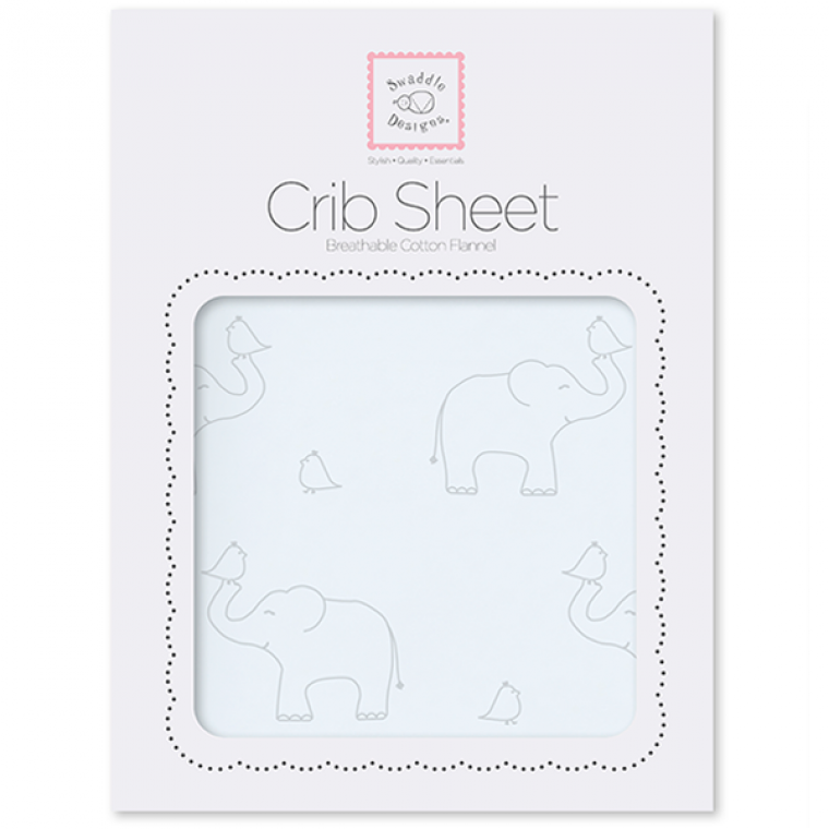 Flannel Fitted Crib Sheet Sterling Deco Elephants